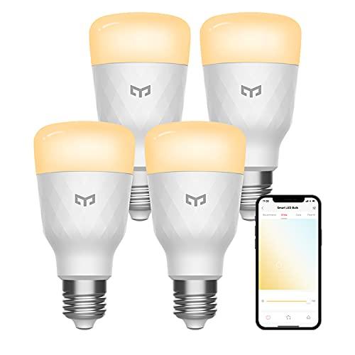 YEELIGHT Smart Light Bulbs, Dimmable LED Light Bulbs 60W Equivalent 900LM Work with Alexa, Razer Chroma and Google Home, Warm White 2700K A19 E26 Light Bulbs 4 Pack