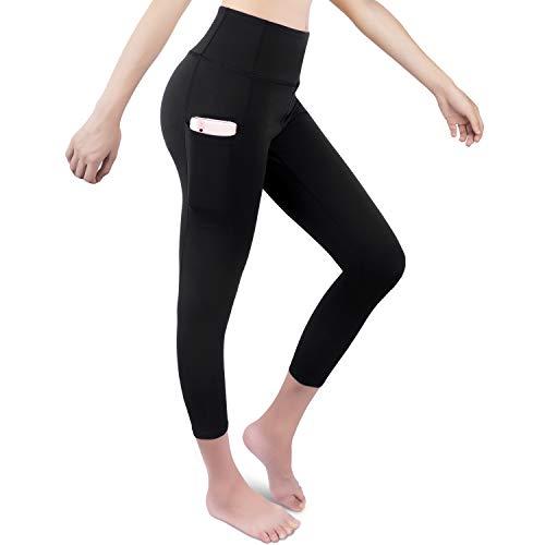 GRAT.UNIC Sport Leggings Damen, 3/4 Yoga Sporthose,Fitnesshose mit Taschen,Yogahosen,Damen Capri Leggings,Hohe Taille Schwarz Stretch Workout Fitness Jogginghose (Schwarz 3/4, S)
