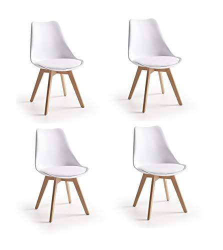 Sillas De Cocina Pack 4 Blancas sillas de cocina pack 4  Marca CAMBIA TUS MUEBLES