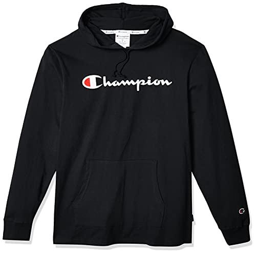 Champion Men's Middleweight Jersey Hoodie, Script Logo, black, Large
