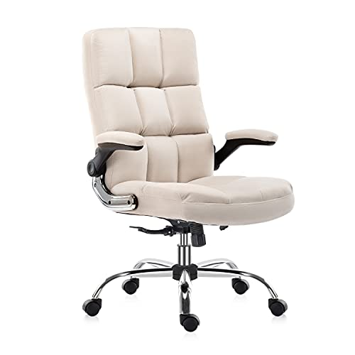 YAMASORO Comfortable Ergonomic Office Chair Fabric Velvet Desk Chair with Wheels High-Back Executive Computer Chairs with Flip-Up Arms,Adjustable Tilt Angle,Beige