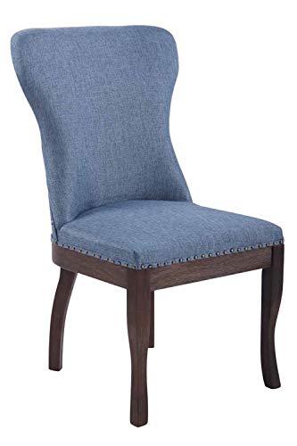 CLP Esszimmerstuhl Windsor mit Stoffbezug I Moderner Lehnstuhl mit Gestell aus Kautschukholz und Einer Sitzhöhe von 48 cm, Farbe:blau