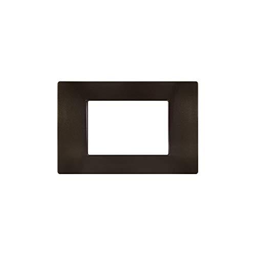 LineteckLED -M60037- Serie Completa di Placche per Interruttori Prese- Placca Marrone Scuro Metallizzato Compatibile Vimar - Serie Plana (Marrone Scuro Metallizzato 3Posti)