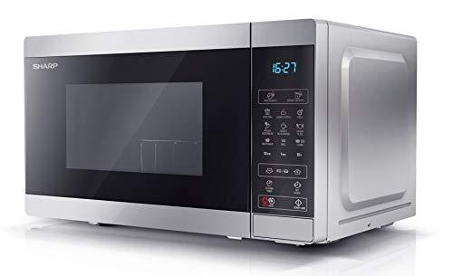 SHARP YC-MG02ES - Forno a microonde 20 litri, con funzione grill, programma di scongelamento, 11 livelli di potenza, funzione timer, piatto girevole incluso