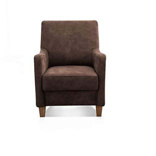 Cavadore Sessel Delo mit Federkern / Bequemer Polstersessel im modernen Design / 70 x 93 x 76 / braun
