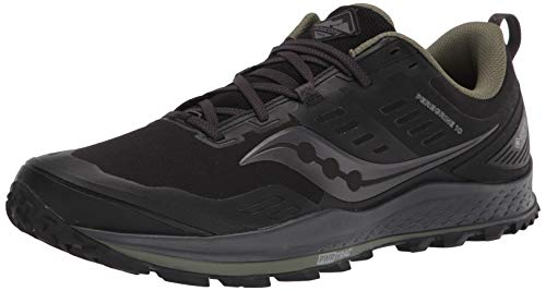 Saucony Men's Peregrine 10 GTX Trail Running Shoe, Black/Pine, 14