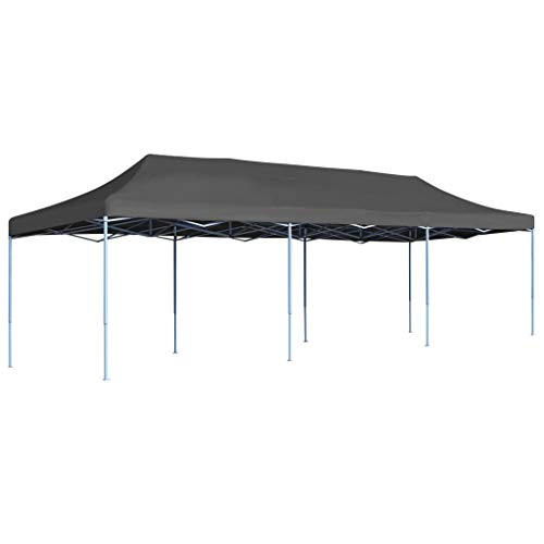 vidaXL Carpa Pleglable Pop-Up 3x9 m Gris Antracita Gazebo Caseta Jardín Patio