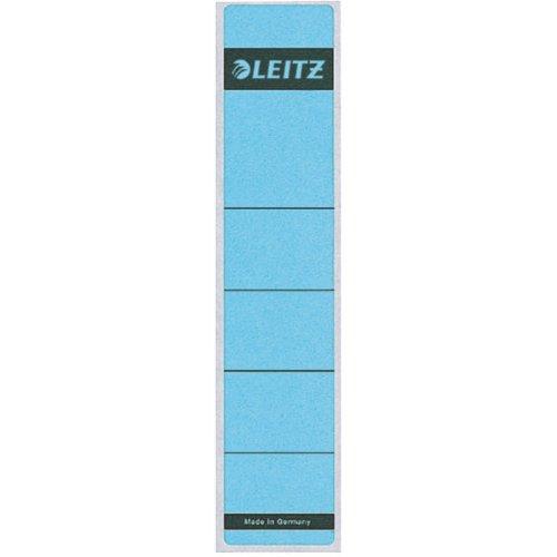 Leitz Rückenschild selbstklebend für Standard- und Hartpappe-Ordner, 10 Stück, 50 mm Rückenbreite, Kurzes und schmales Format, 39 x 192 mm, Papier, blau, 16430035