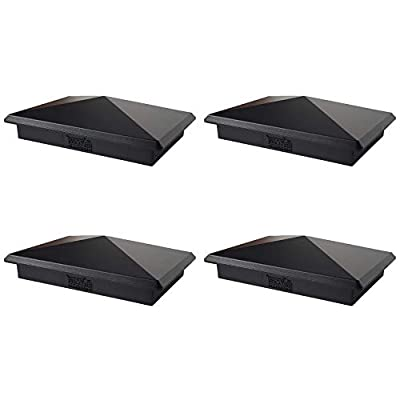 "4"" x 6"" Heavy Duty Aluminium Pyramid Post Cap for Wood Posts - Black (4 Pack)"