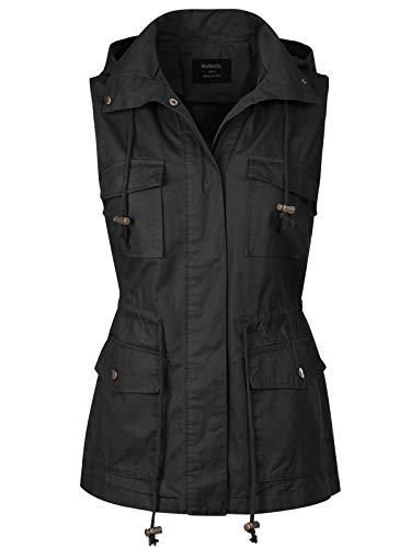 MixMatchy Women's Drawstring Lightweight Loose Fit Sleeveless Vest Utility Jacket