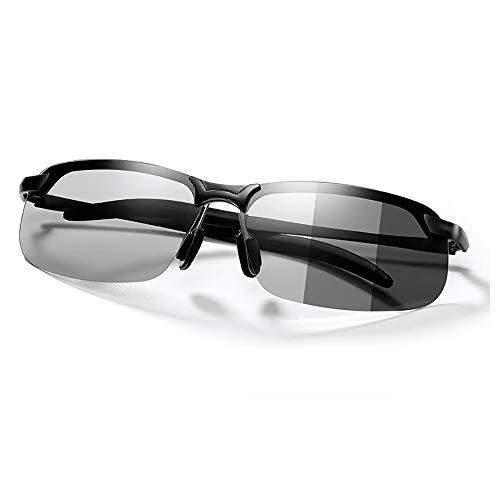 変色調光サングラス 偏光サングラス スポーツサングラス 紫外線に反応して色が変わる変色メガネ 超軽量 アルミニウム・マグネシウム合金 UV400 紫外線カット