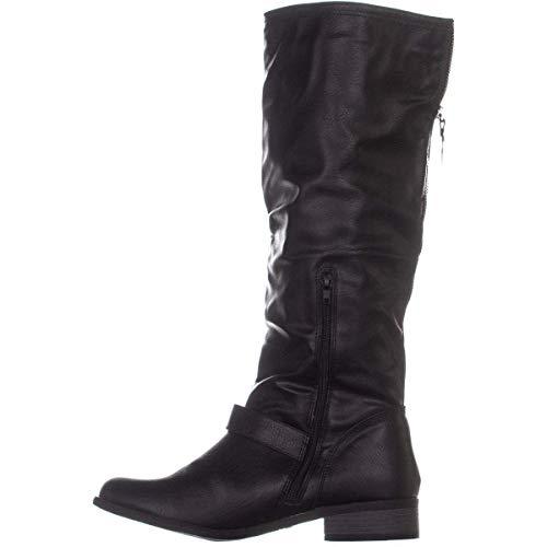 XOXO Womens Minkler Faux Leather Tall Riding Boots Black 6 Medium (B,M)