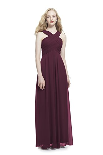 Samantha Paige Criss-Cross Strap Pleated Chiffon Formal Dress, Wine, 4