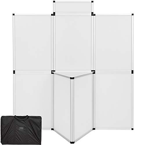 TecTake 800667 - Promotionswand 180x200 cm, Inkl. praktischem Tisch, Rahmen aus leichtgewichtigem Aluminium - Diverse Farben (Weiß | Nr. 403036)