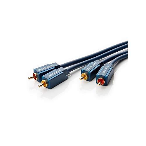 Clicktronic Casual Premium Stereo Audiokabel mit Kupferleiter, Chinch-Kabel Doppelt geschirmt, 24-Karat vergoldete Kontakte, 1m Länge