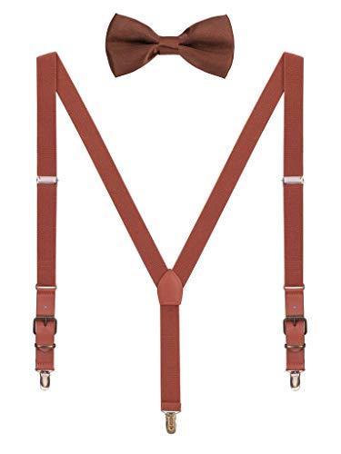 Hosenträger Fliege Sets für Herren Jugendlichen Y Form 3 Anti-Rost Clips Hosenträger Elastisch Verstellbar Classic Schick Gentleman - Braun