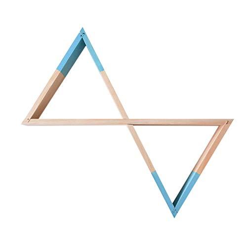 Nacnic Estanteria de Pared Estilo nordico. Estante Triangulos de Madera Unidos. Colores Madera y Azul. Estante habitacion Infantil, Salon, Bebe. Almacenamiento estanteria Triangular de Madera.