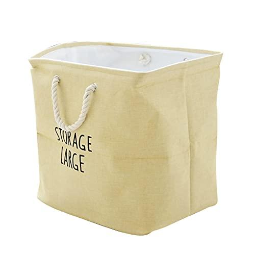 Sooair Caja de almacenamiento de tela, cesta de almacenamiento, cajas de tela de algodón, pequeñas cajas de tela con asas, cestas de algodón grueso para armario, estantería y ropa