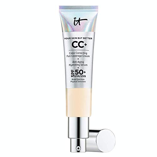 IT Cosmetics Your Skin But Better CC+ Cream, Fair (W) - Color Correcting Cream, Full-Coverage Foundation, Anti-Aging Serum & SPF 50+ Sunscreen - Natural Finish - 1.08 fl oz