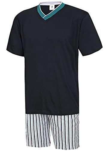 Moonline nightwear Herren Schlafanzug kurz Herren Pyjama kurz Herren Shorty Schlafanzug aus 100{a67bcbc36edc1afc4e3f708330bfbd4cf757e9ad13552b89679de896376562c4} Baumwolle (XXL/58-60, Oberteil Rauch blau/Hose gestreift)