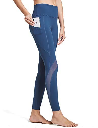BALEAF Women's High Waist Yoga Pants Mesh Gym Leggings Side Hidden Pocket Purplish Blue M