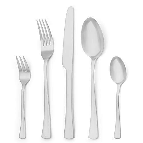 Sharecook 30 Stück Edelstahlbesteck,Besteck Besteck-Set, Messer Gabeln Löffel Set für 6 Personen (Matt, 6 Sätze)