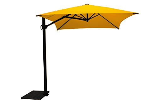 Maffei Art 137r Kronos Parasol deporté rectangulaire cm 300x200, Tissu PolyMa. Made in Italy. Couleur Jaune