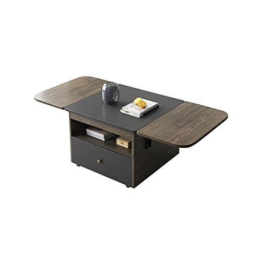 Coffee Table Modern Folding Tea Bord Living Room Bedroom Mobile Tea Side Table Office Multifunktionellt Förvaringsbord (Med Lådor)
