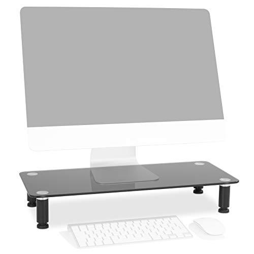 Duronic DM052-2 Bildschirmständer/Monitorständer/Notebookständer/TV Ständer/Bildschirmerhöhung/Laptop   Glas   schwarz  56cm x 24cm   20kg Kapazität
