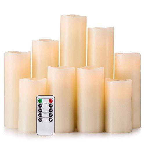 """Paquete de 9 velas sin llama Velas con pilas H 4 """"5"""" 6 """"7"""" 8 """"9"""" Vela del LED real del pilar de cera que parpadea con control remoto de 10 teclas y temporizador de Hausware, color marfil"""