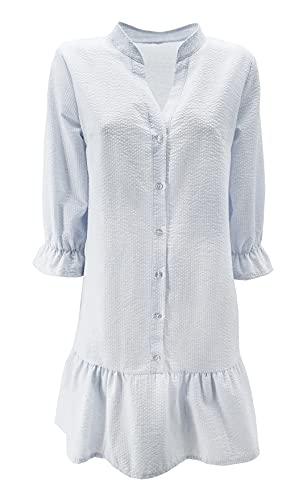 Vestido de camisa larga para mujer de manga larga y cuello de Coreana de algodón con fantasía a rayas con botones (cód. 6213) cielo L