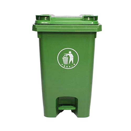 ZXYY Outdoor Green Trash Can Can Move Trash Can With Wheels Garden Trash Can Pedal Bin Factory School Commercial Trash Can (Size: 60L)