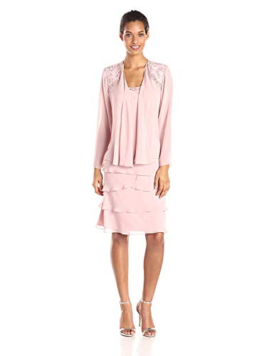 S.L. Fashions Women's Embellished Tiered Jacket Dress Regular, Faded Rose, 12 Petite (Apparel)