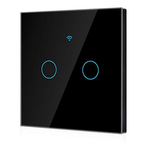 Jopwkuin Interruptor WiFi a Prueba de Agua Interruptor Inteligente bidireccional, para una Vida Inteligente, para Alexa Google 2-Way AC 100-250V(Black, European regulations)