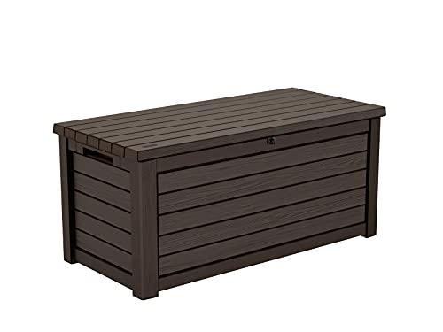 Koll Living Gartenbox / Aufbewahrungsbox 623 Liter, schwarz, weiß oder braun - trockener & belüfteter Stauraum - mit Gasdruckfedern - Deckel bis zu 272 kg belastbar (Braun)
