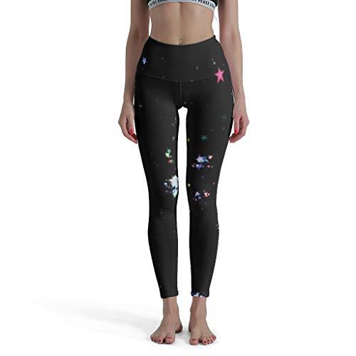 Fineiwillgo Galaxie Legging de Yoga 3/4 pour Femme, Taille Haute, Longueur de Cheville - Blanc - M