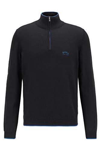 BOSS Herren Ziston W20 Pullover aus Bio-Baumwolle mit Reißverschluss am Kragen und Kontrast-Details