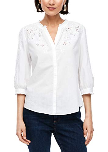 s.Oliver Damen Bluse mit Broderie Anglaise White 46