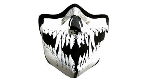 kenai dark Motorrad Neopren Maske white Vampir mit Feinstaubfilter, Biker Mask white vampire, Winddicht Staubdicht
