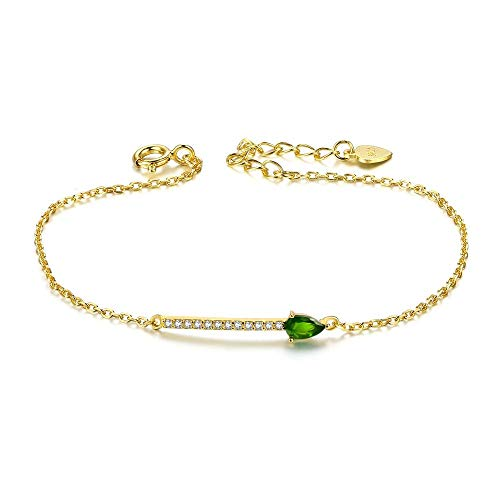 GLEEZZMK 925 Sterling Silver Bracelet 14K Gold pear Shaped Diopside Gemstones Simple Womens Jewelry
