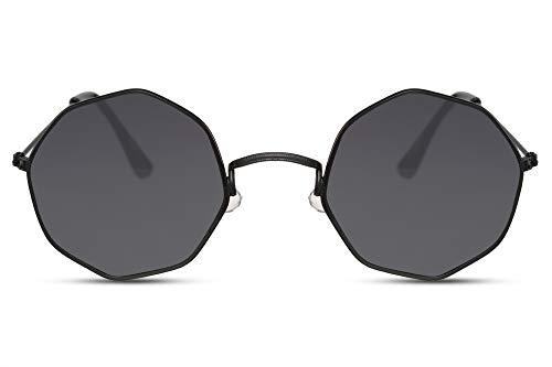 Cheapass Occhiali da Sole Montatura Piccola Ottagonale Metallica Nera con Lenti Scure UV400 Protetti da Uomo e Donna