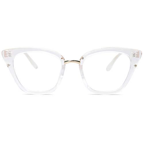 SOJOS Occhiali Blocca la Luce Blu Donna Cat Eye Vintage Montatura Non Prescrizione Anti Eyestrain SJ5051 con Trasparente Telaio/Lente Anti-Blu