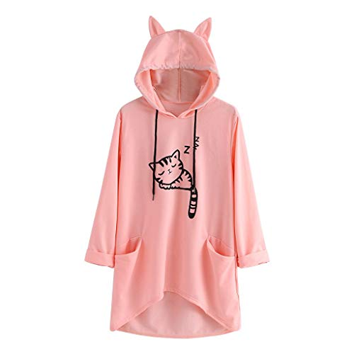 KIMODO Pullover Damen Korean Fashion Katze Ohr Hoodie Sweatshirt Langarm Drucken Tumblr Kapuzenpullover Kawaii Lange Bluse (Rosa, M)