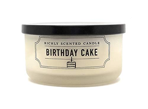 Travel Size Richly Scented Candle - 2 Wick - 4.65 oz with Lid (Birthday Cake)