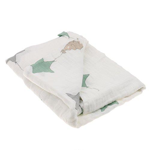 1pcs Manta De Muselina De Algodón Manta De Bebé Recién Nacido Baño De Envolver Una Toalla 2triangle - Estrellas, 110cm