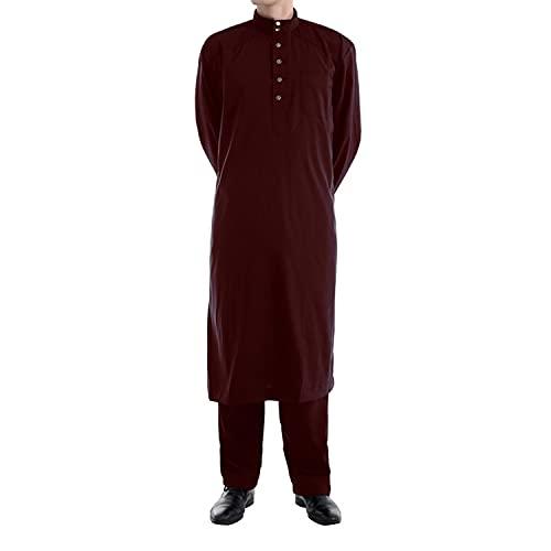 Herren Middle East Thobe mit Hosen - Männer Muslim Langarm Thobe Lose Kaftan Casual Dubai Arab Kaftan Kleidung Herren Islamische Kostüm 2pcs/Set