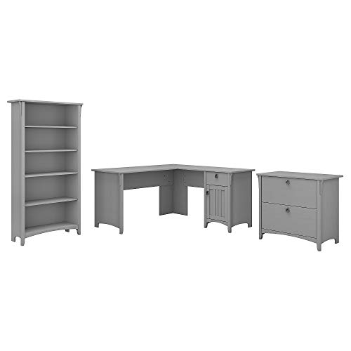 Bush Furniture Salinas L Shaped Desk with Lateral File Cabinet and 5 Shelf Bookcase, 60W, Cape Cod Gray