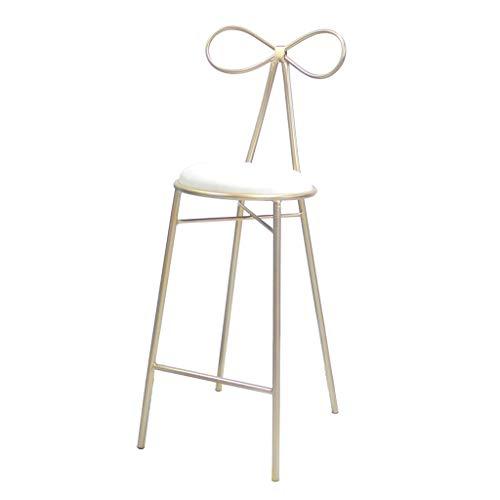 ZRXian-Tabourets Nordic Bar Chaise Or Métal Bracket Bar Tabouret Café Shop Suede Cushion Design (Hauteur Assise: 65 / 75CM) (Couleur : Blanc, Taille : 75cm)