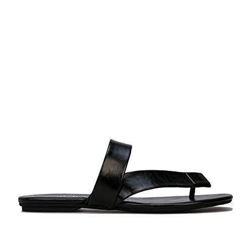 Clavin Klein Saurin - Sandalias de Piel sintética para Mujer (barnizadas), Color Negro, Color Negro, Talla 39 EU