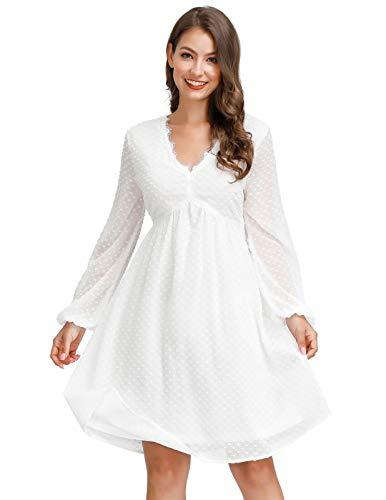 JASAMBAC 2021 Maternity Dress for Baby Shower White Bridesmaid Dress Graduation Dress White L